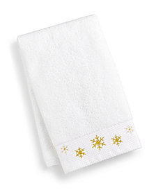 CLOSEOUT! Martha Stewart Collection Snowflake Cotton Embroidered Hand Towel, Created for Macy's