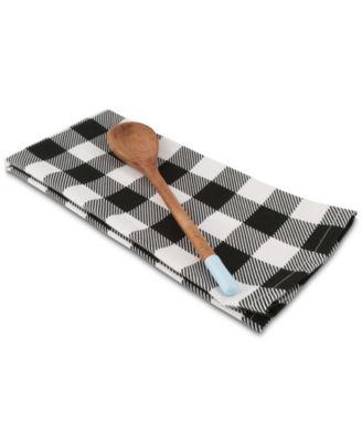 Black Plaid Tea Towel and Spoon