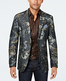 Tallia Men's Limited Edition Slim-Fit Stretch Olive Watercolor Sport Coat with Patches