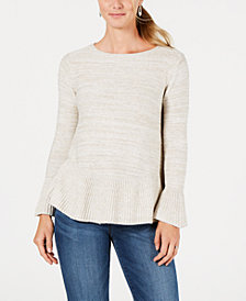 Style & Co Petite Bell-Sleeve Peplum Sweater, Created for Macy's