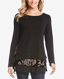 Karen Kane Tiered-Hem Mixed-Media Top