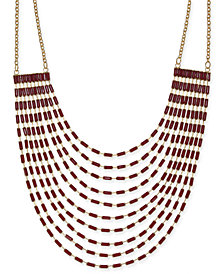 "Thalia Sodi Gold-Tone Baguette Stone Multi-Strand Statement Necklace, 18"" + 3"" extender, Created for Macy's"