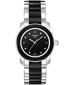 Women's Swiss Cera Stainless Steel and Black Ceramic Bracelet Watch 28mm T0642102205600