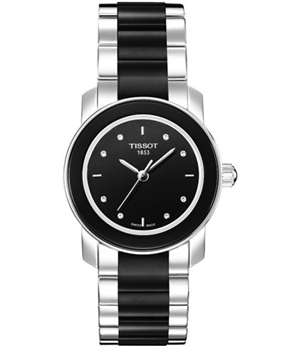 tissot women 39 s swiss cera stainless steel and black ceramic bracelet watch 28mm t0642102205600. Black Bedroom Furniture Sets. Home Design Ideas