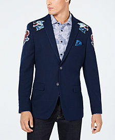 Tallia Men's Slim-Fit Patched Navy Blazer