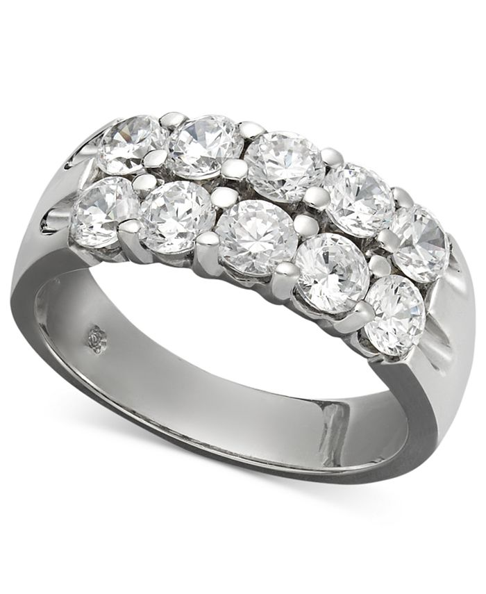 Macy's - Two-Row Certified Diamond Band Ring in 14k White Gold (1-1/2 ct. t.w.)