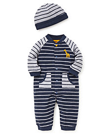 Little Me Baby Boys Stripe Block Coverall with Hat