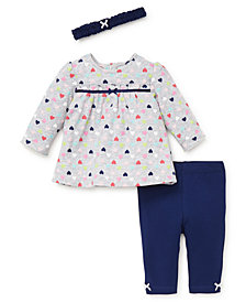 Little Me Baby Girls Fun Hearts Tunic Set with Headband