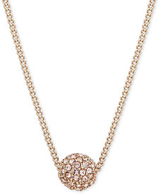 "Givenchy Gold-Tone Pavé Fireball Pendant Necklace, 16"" + 2"" extender"