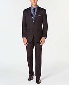 Men's Slim-Fit Stretch Wrinkle-Resistant Charcoal Solid Suit