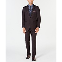 Perry Ellis Men's Slim-Fit Stretch Wrinkle-Resistant Charcoal Solid Suit (Charcoal)