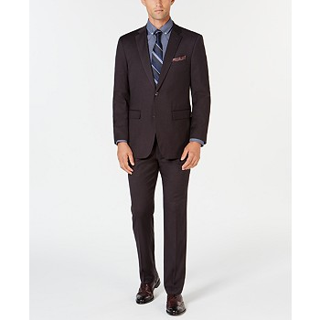 Perry Ellis Men's Slim-Fit Stretch Wrinkle-Resistant Charcoal Solid Suit