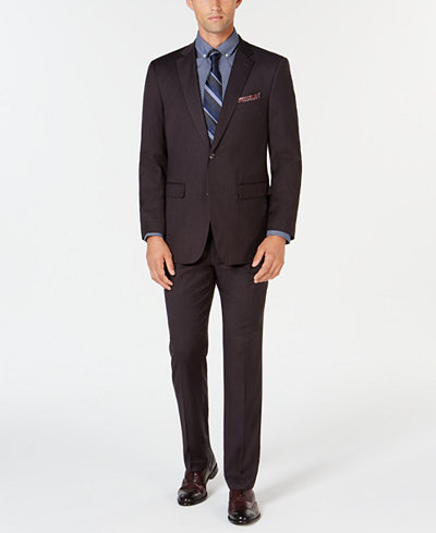 Perry Ellis Men's Slim-Fit Stretch Wrinkle-Resistant Charcoal Solid Suit