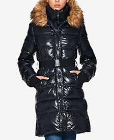 S13 Chalet Faux-Fur-Trim Hooded Belted Down Puffer Coat