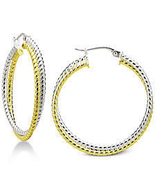 "Giani Bernini Small Two-Tone Twisted Hoop Earrings in Sterling Silver & 18k Gold-Plate, 1"", Created for Macy's"