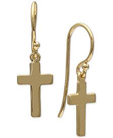Giani Bernini Cross Drop Earrings in 18k Gold-Plated Sterling Silver, Created for Macy's