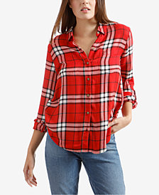 Lucky Brand Plaid Tab-Sleeve Side-Button Top