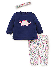 Little Me Baby Girls 3-Pc. Cotton Headband, Dinosaur Top & Printed Leggings Set
