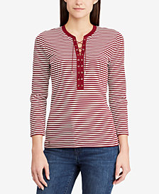 Lauren Ralph Lauren Lace-Up Striped Top