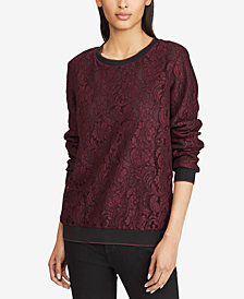 Lauren Ralph Lauren Striped-Trim Lace Pullover
