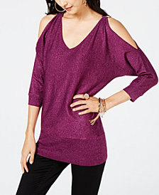 Thalia Sodi Metallic Cold-Shoulder Sweater, Created for Macy's