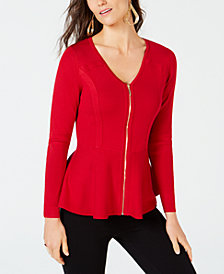 Thalia Sodi Zip-Front Peplum Top, Created for Macy's