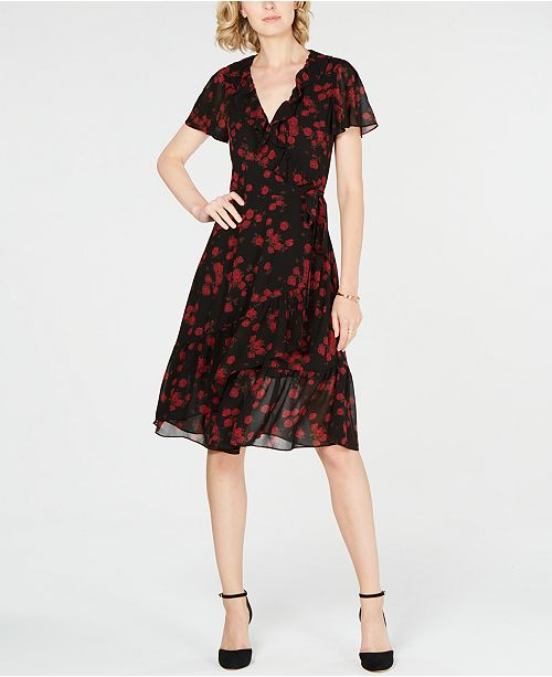 569f75c922 Michael Kors Ruffled Wrap Dress   Reviews - Dresses - Women - Macy s