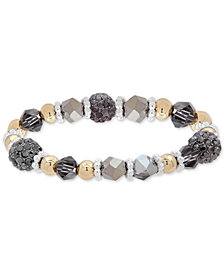 Nine West Tri-Tone Crystal & Bead Stretch Bracelet