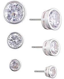 Lauren Ralph Lauren Silver-Tone 3-Pc. Set Crystal Stud Earrings