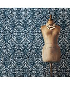 Bohemian Damask Indigo Peel and Stick Wallpaper