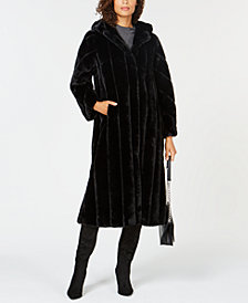 Jones New York Hooded Maxi Faux-Fur Coat