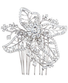 Marchesa Silver-Tone Crystal Openwork Flower Hair Comb