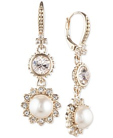 Gold-Tone Imitation Pearl & Crystal Drop Earrings