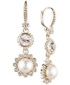 Marchesa Gold-Tone Imitation Pearl & Crystal Drop Earrings