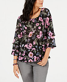 Style & Co Floral-Print Ruffle-Tiered Top, Created for Macy's