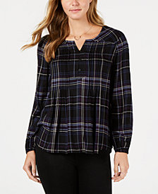 Style & Co Plaid Pintuck Shirt, Created for Macy's