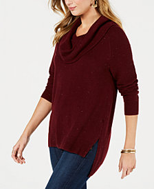 Style & Co Tweed Cowl-Neck High-Low Sweater, Created for Macy's