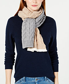 Calvin Klein Colorblocked Cable-Knit Scarf