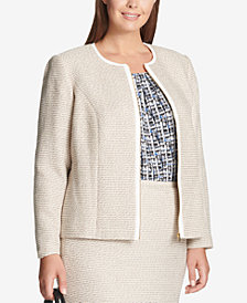 Calvin Klein Plus Size Tweed Zip Jacket