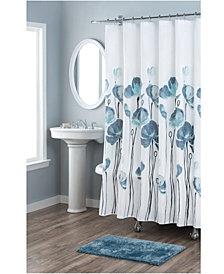 Nicole Miller Petunia Printed Spring Cotton Shower Curtain