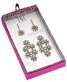 I.N.C. Day & Night Hematite-Tone 2-Pc. Set Coordinated Crystal & Stone Flower Drop Earrings, Created for Macy's