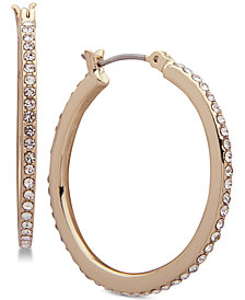 "Ivanka Trump Gold-Tone Crystal In & Out 1"" Hoop Earrings"