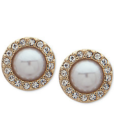 Ivanka Trump Gold-Tone Imitation Pearl & Crystal Halo Stud Earrings