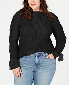 Say What? Trendy Plus Size Lace-Up Sweater