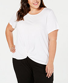 Style & Co Plus Size Twist-Hem T-Shirt, Created for Macy's