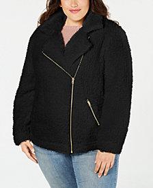Say What? Trendy Plus Size Fleece Moto Jacket