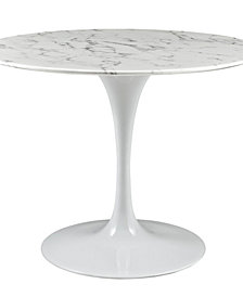 Lippa 40 Inch Round Artificial Marble Dining Table