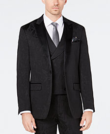 Tallia Men's Slim-Fit Tonal Black Bird Pattern Suit Jacket