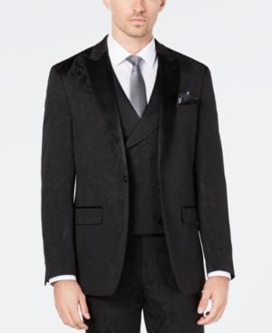 Tallia Men's Slim-Fit Tonal Black Bird Pattern Suit Jacket