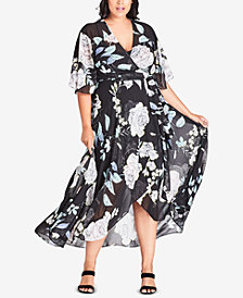 City Chic Trendy Plus Size Printed Maxi Wrap Dress